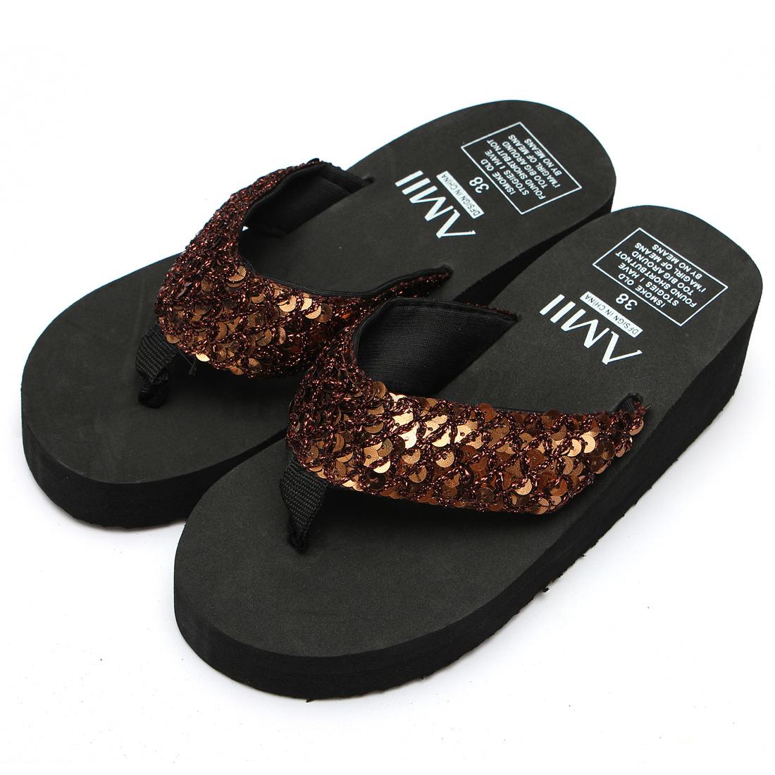 Women Ladies Summer Thick Wedge Bottom Flip Flops Sandals