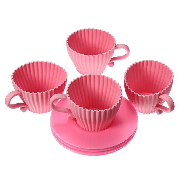 4pcs Silicone Cupcake Cups Muffin Baking Cake Tea Saucer Teacup Mold Mould Maker