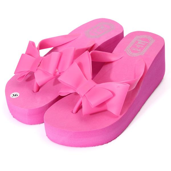 2015 femme tong chaussures sandales plage talon compens e et noeud papillon ebay. Black Bedroom Furniture Sets. Home Design Ideas