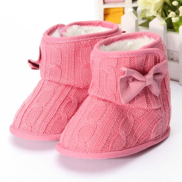 Newborn Warm Bowkont Baby Girl Anti-slip Socks Slipper Shoes Boots 0-18Months