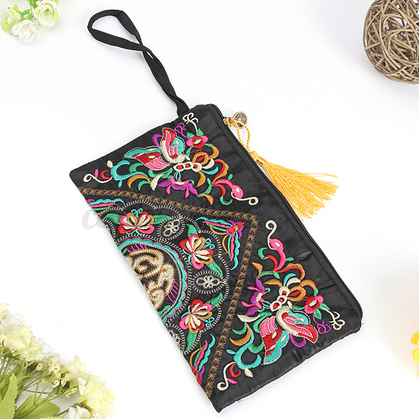 sac main femme pochette broderie portefeuille porte monnaie trousse vintage ebay. Black Bedroom Furniture Sets. Home Design Ideas