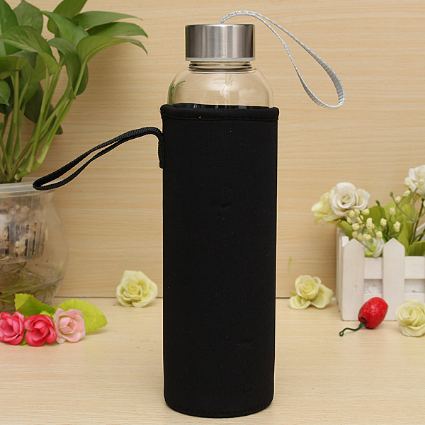 bpa free glass sport water bottle with tea filter infuser protective bag 550ml ebay. Black Bedroom Furniture Sets. Home Design Ideas