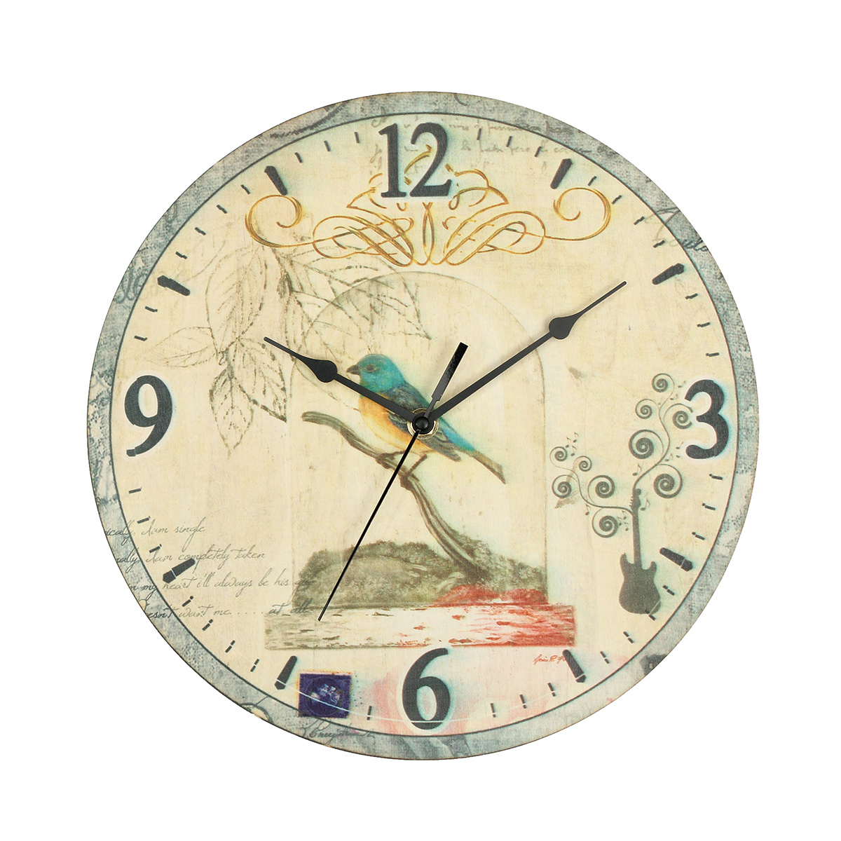 grosse horloge murale bois rustique campagne vintage shabby maison bureau d core ebay. Black Bedroom Furniture Sets. Home Design Ideas