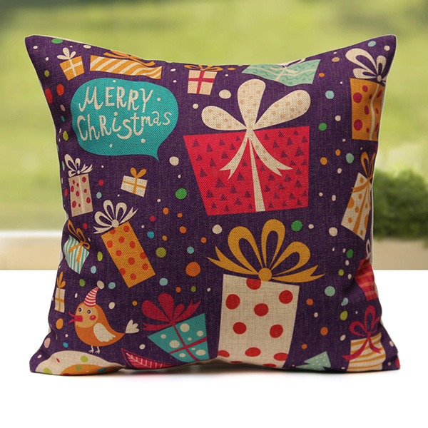 Christmas Xmas Linen Cushion Cover Throw Pillow Case Home: Merry Christmas Colorful Linen Cushion Cover Throw Home