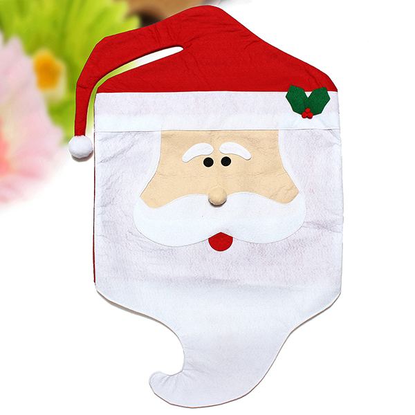 Mr & Mrs Santa Claus Hat Chair Back Cover Christmas Party Home Table Decoration