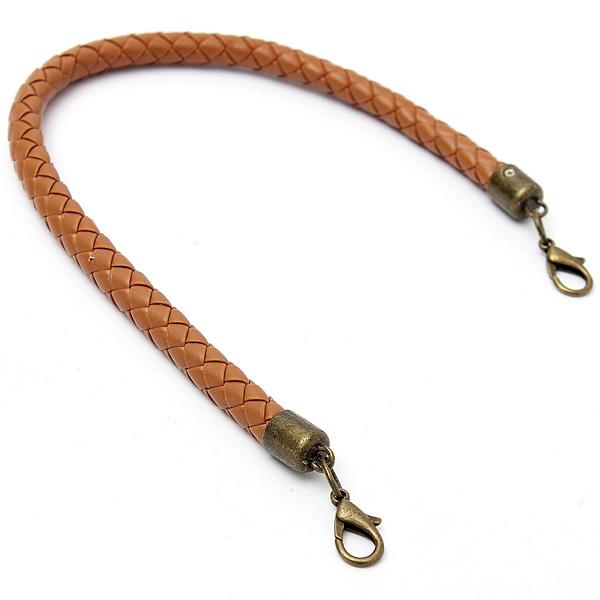Round Braided Shoulder Handbag Leather Strap Diy Purse