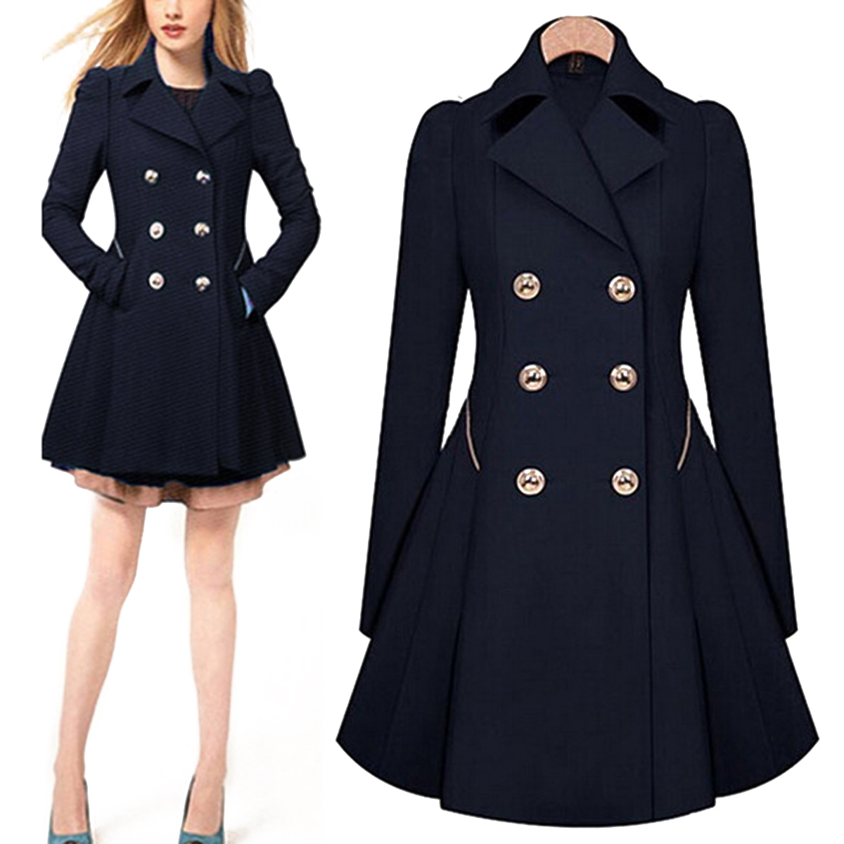Size s XXL 2015 Women Ladies Lapel Long Autumn Parka Coat ...