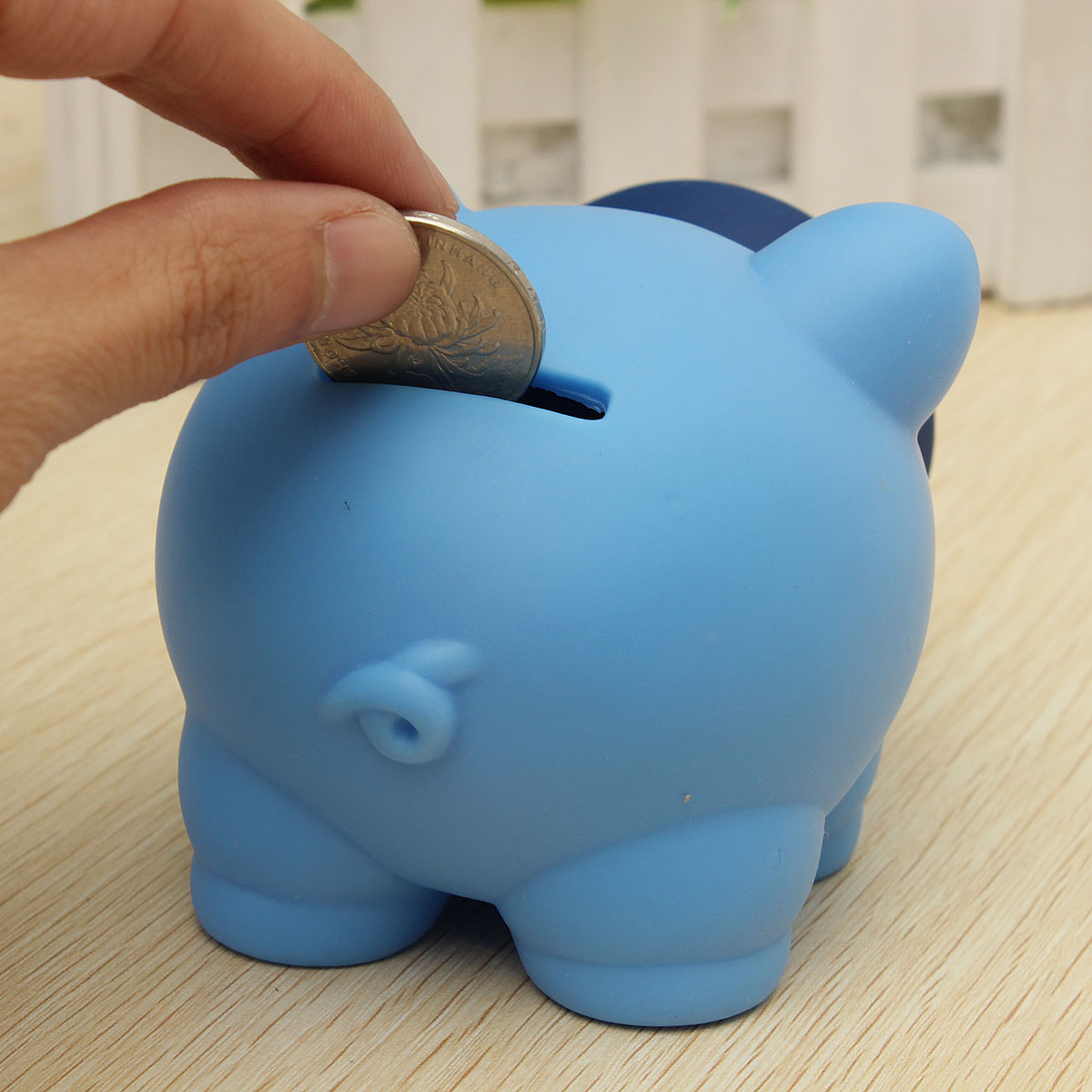Blue cute plastic piggy bank saving cash coin money bank Plastic piggy banks for kids