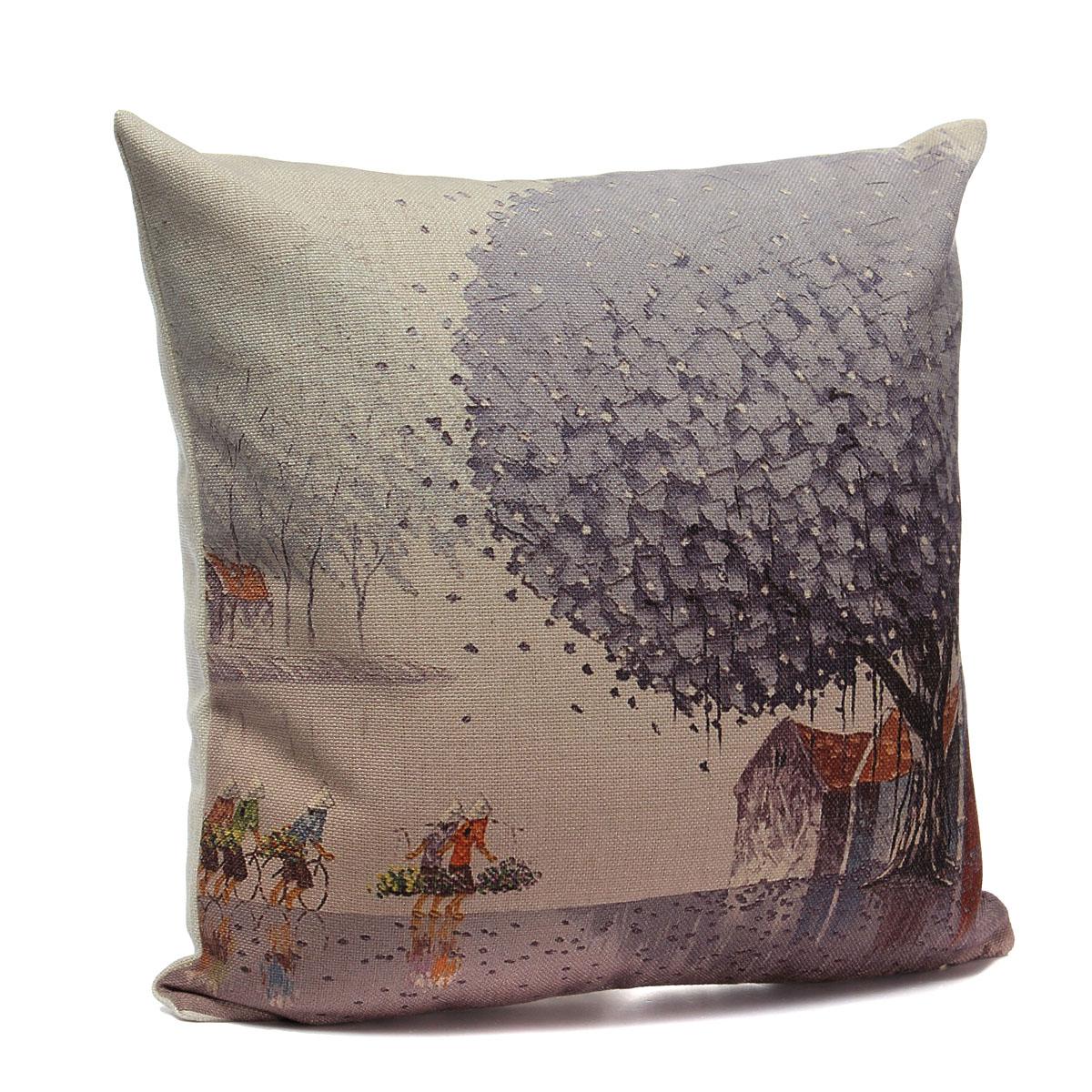 Vintage Pillows: Xmas Vintage Linen Cotton Cushion Cover Throw Pillow Case