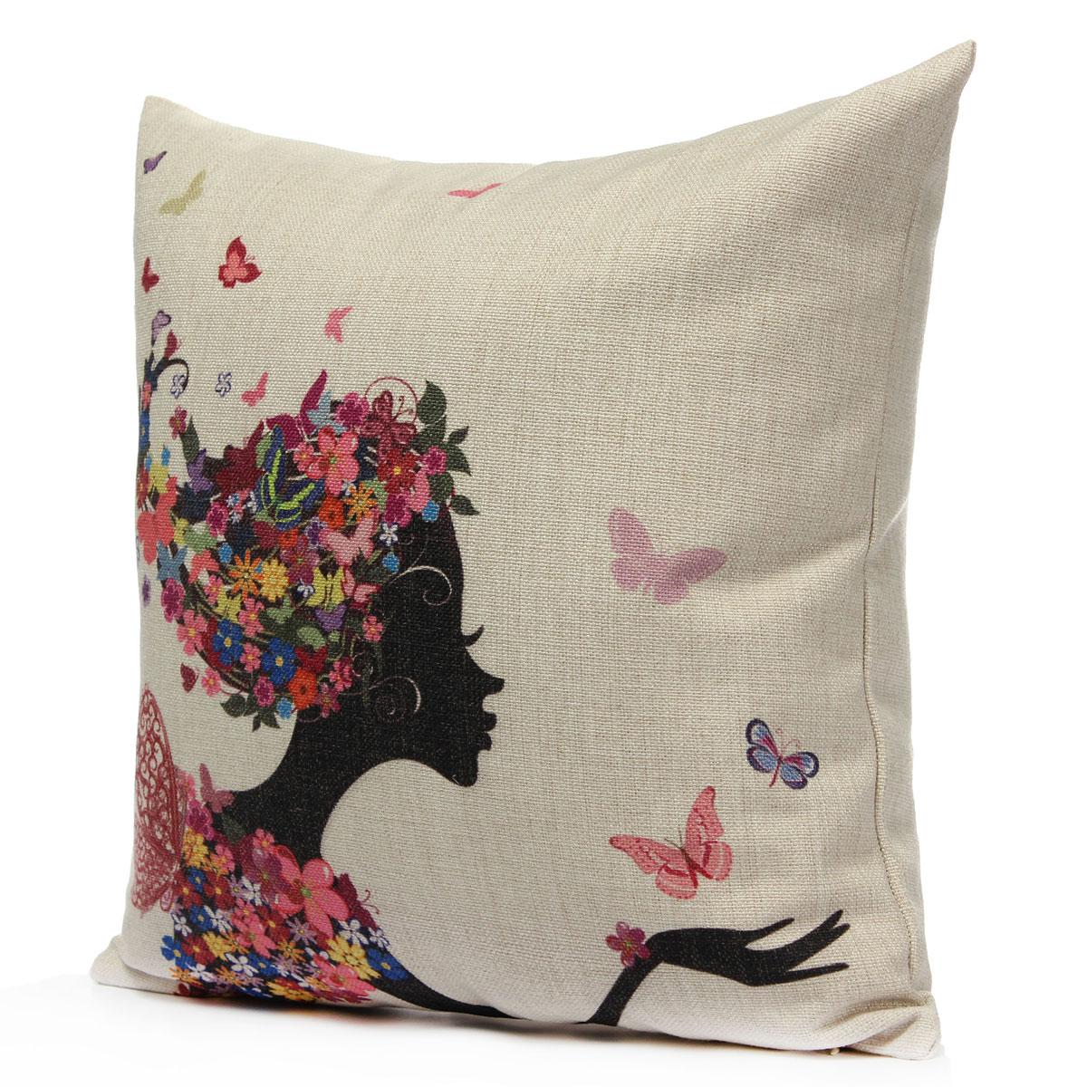 Vintage Linen Cotton Cushion Cover Throw Pillow Case Home Sofa Car Office Decor