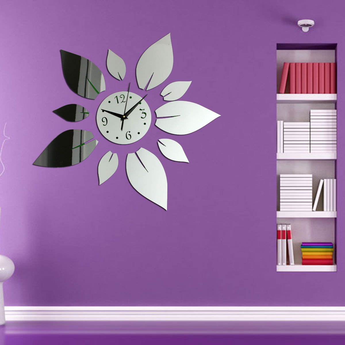 flower petals wall clock sticker diy mirror decal home. Black Bedroom Furniture Sets. Home Design Ideas