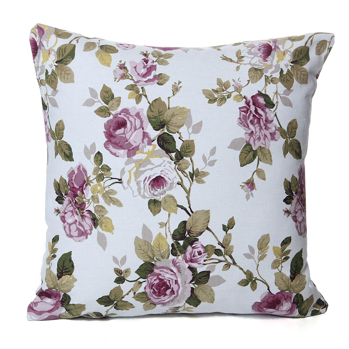 Housse de coussin taie d 39 oreiller canap imprim motif fleur rosier carr maison ebay - Housse coussin de canape ...