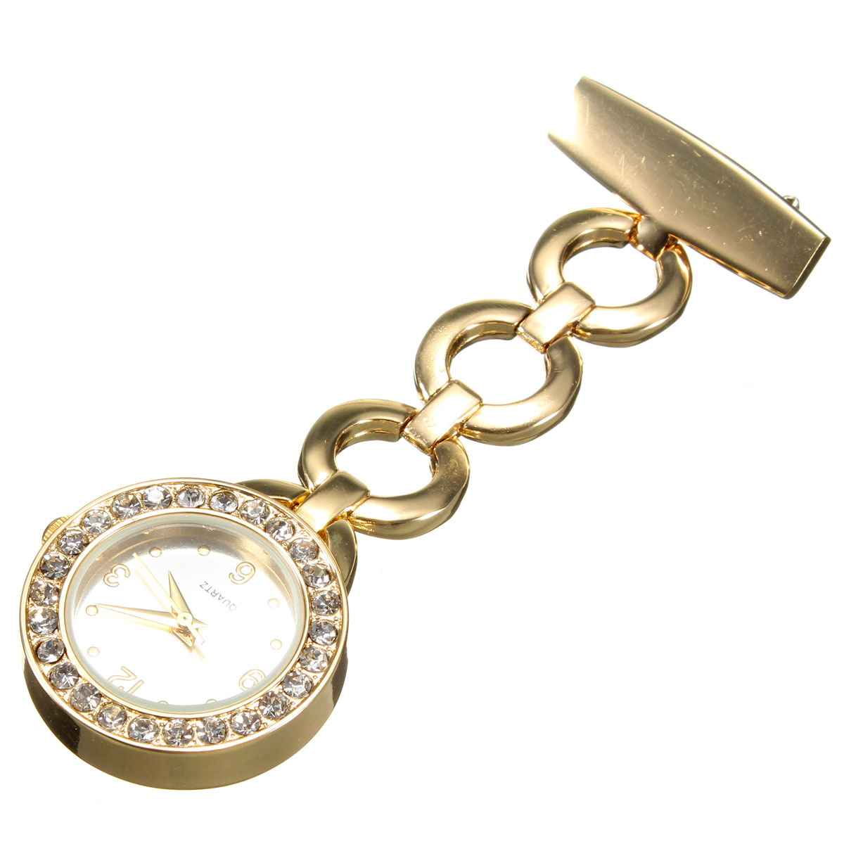 Large Face Nurse Crystal Dial Stainless Brooch Fob Watch Nursing Pendant Pocket