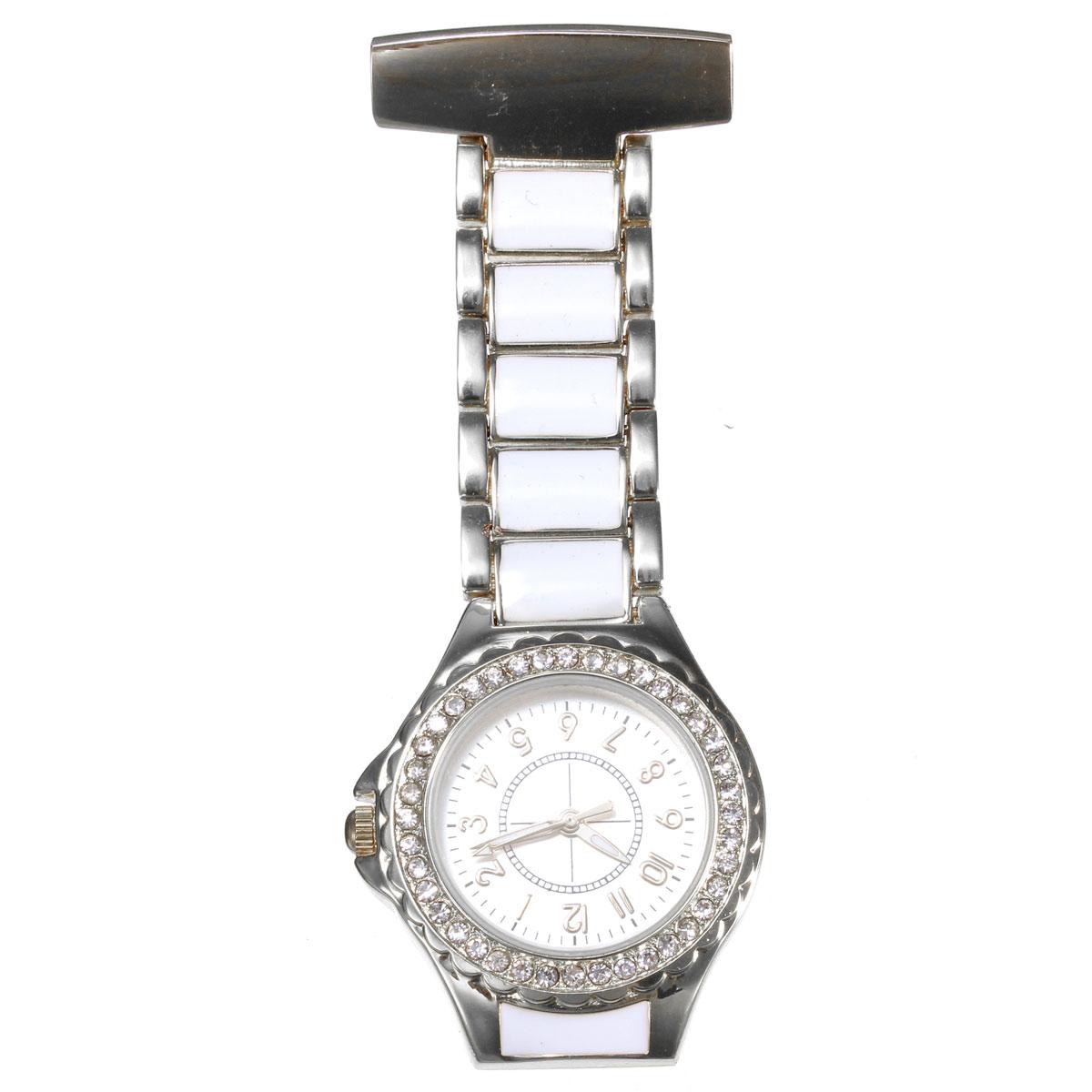 Fashion Nurse Watch Rhinestones Brooch Stainless Steel Quartz Fob Pocket Watch