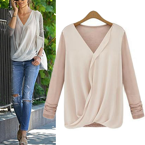 Sexy Women Hot Long Sleeve Blouse Chiffon Casual V Neck Wrap Front T Shirt Tops