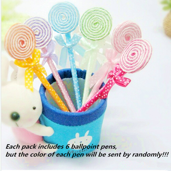 6Pcs Sweetest Candy Shape Ball Point Lollipop Ballpoint Pen Writing Stationery