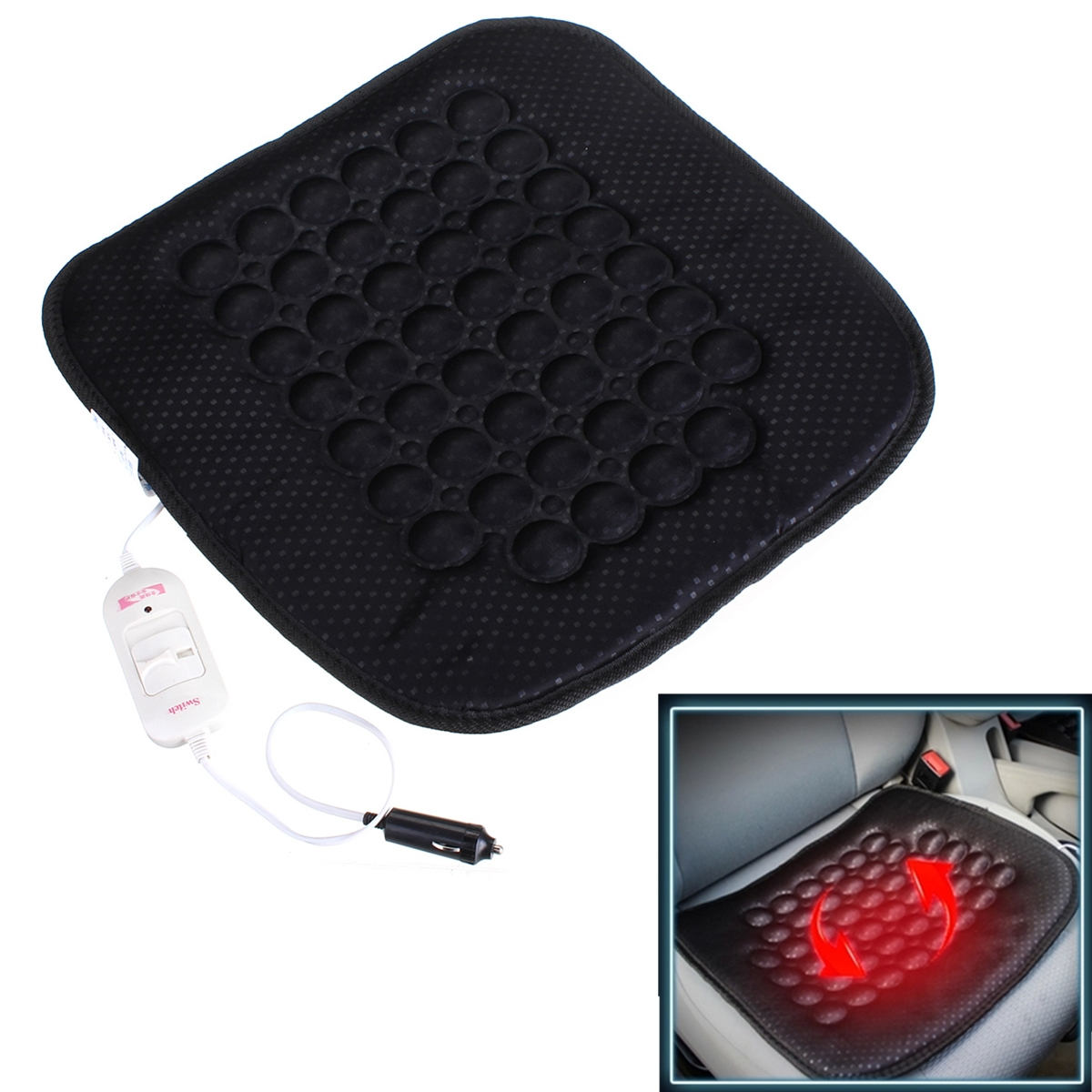 12V 24V Car Heated Seat Cushion Hot Cover Auto Cosy Thermal Heater Warmer Pad
