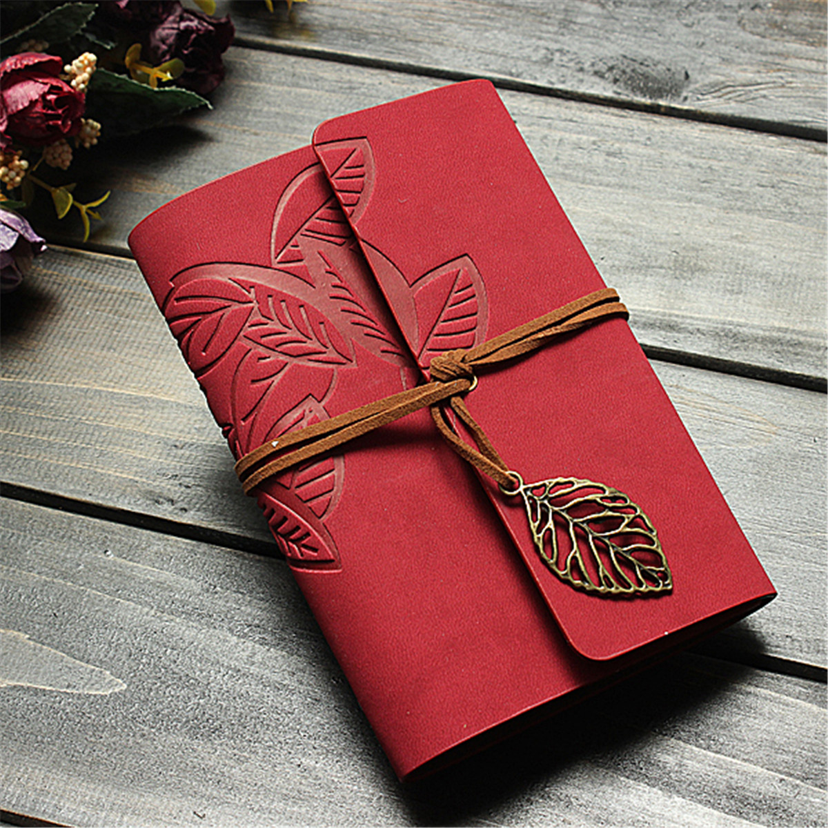 PU Leather Notebook Cover Blank Leaf Journal Diary Notepad String Retro Vintage