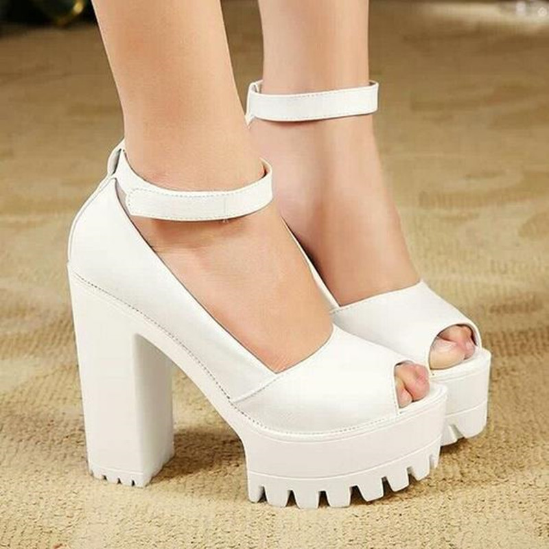Women Chunky  High Heel Pump Thick Platform Sandals Ankle Strap Round Toe Shoes