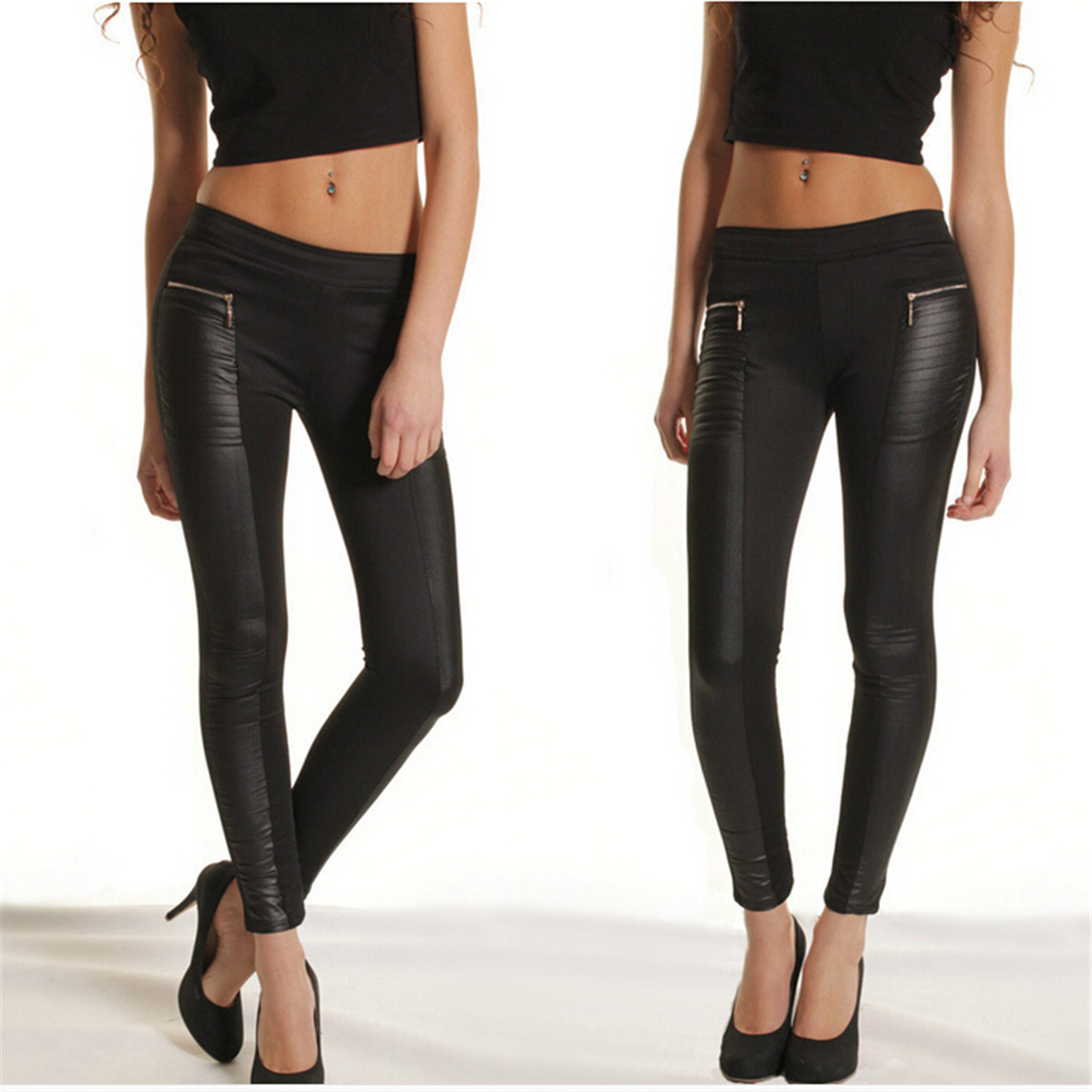 Fashion Womens Leather Panel Leggings Jeggings Zip Pocket Stretch Trousers Black