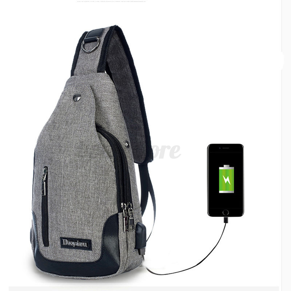 New Men's Polyester Sling Bags Chest Pack Crossbody With USB Charging Anti-Theft