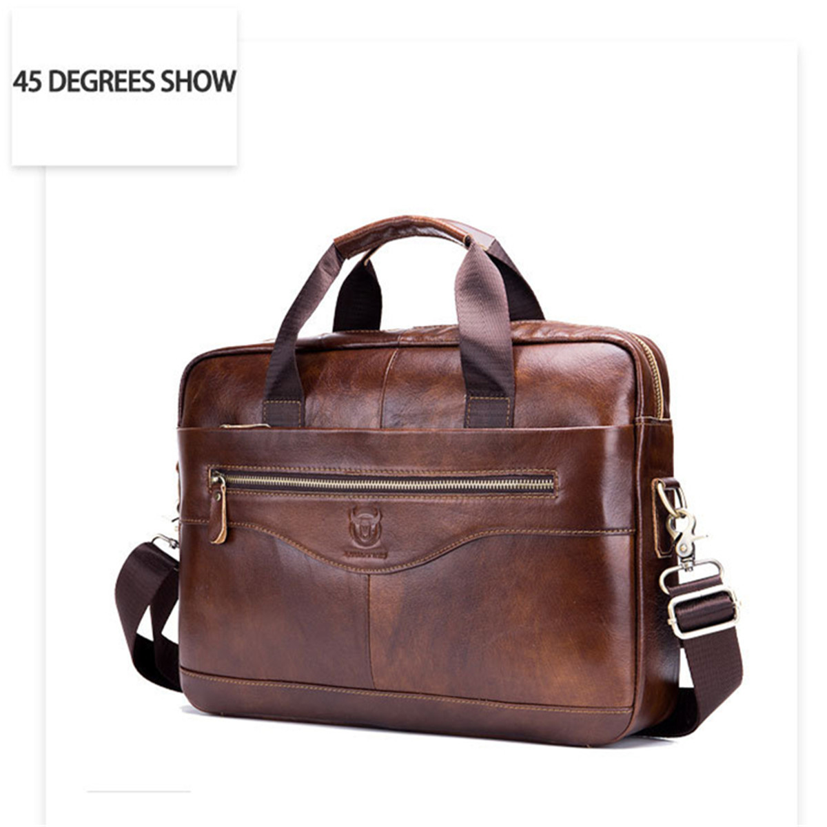 Men Genuine Leather Shoulder Business Bag Briefcase Messenger Handbag Tote 2019