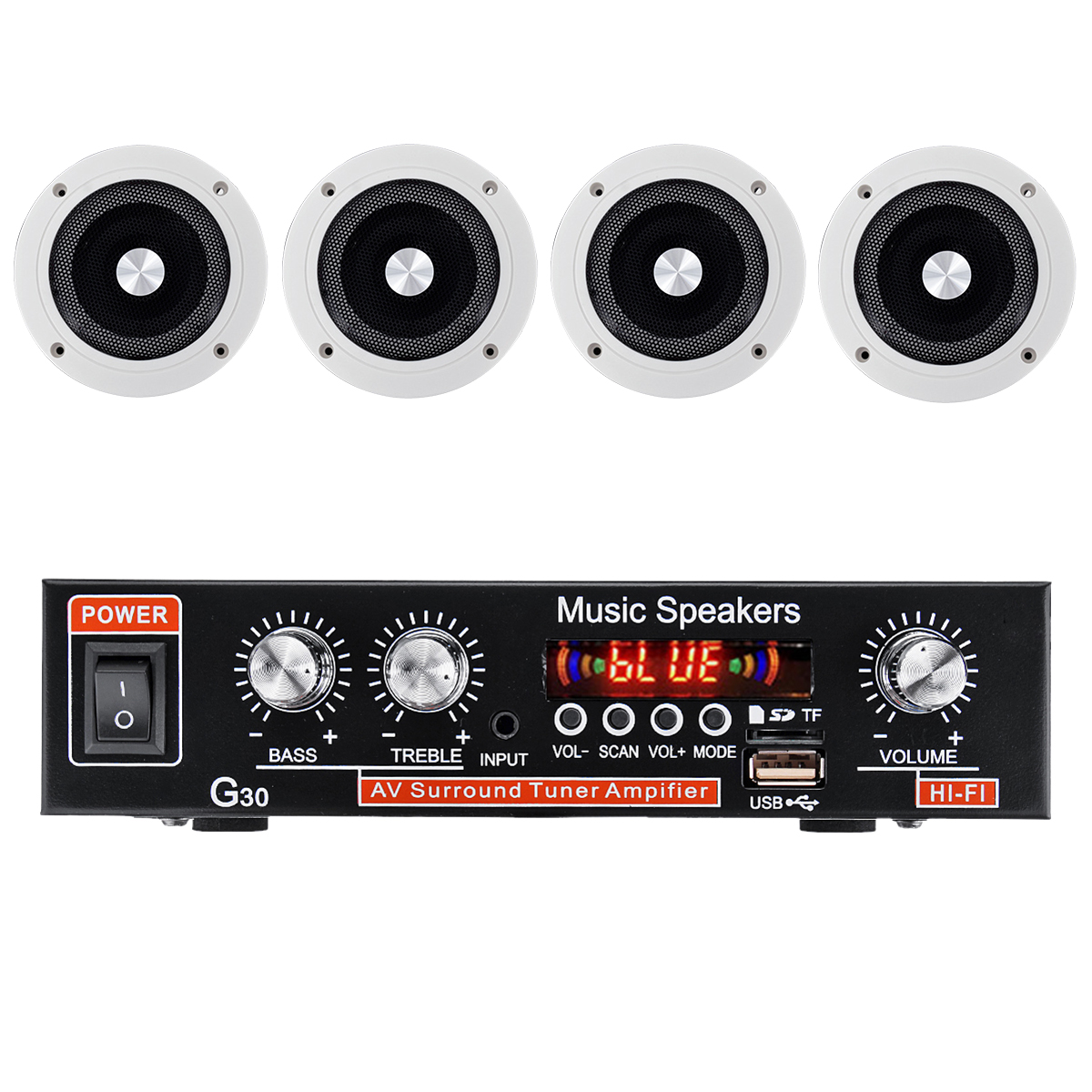 220V Bluetooth Home Stereo Amplifier+Ceiling Speaker System Flush Mount Cafe SUB