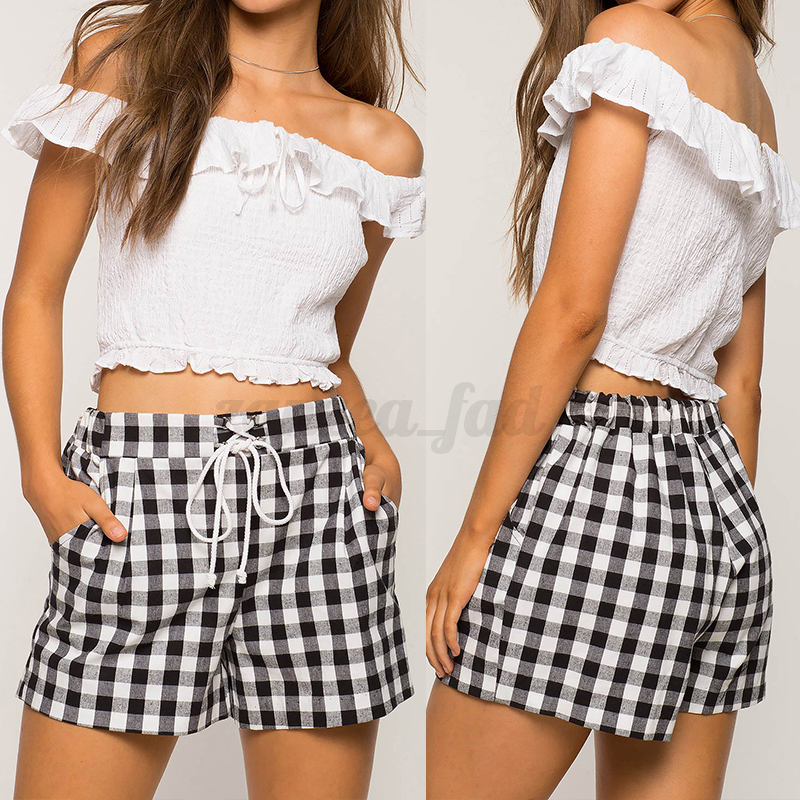 Sommer Damen Kariert Hohe Elastische Taille Freizeit Shorts Kurz Hose Hot Pants
