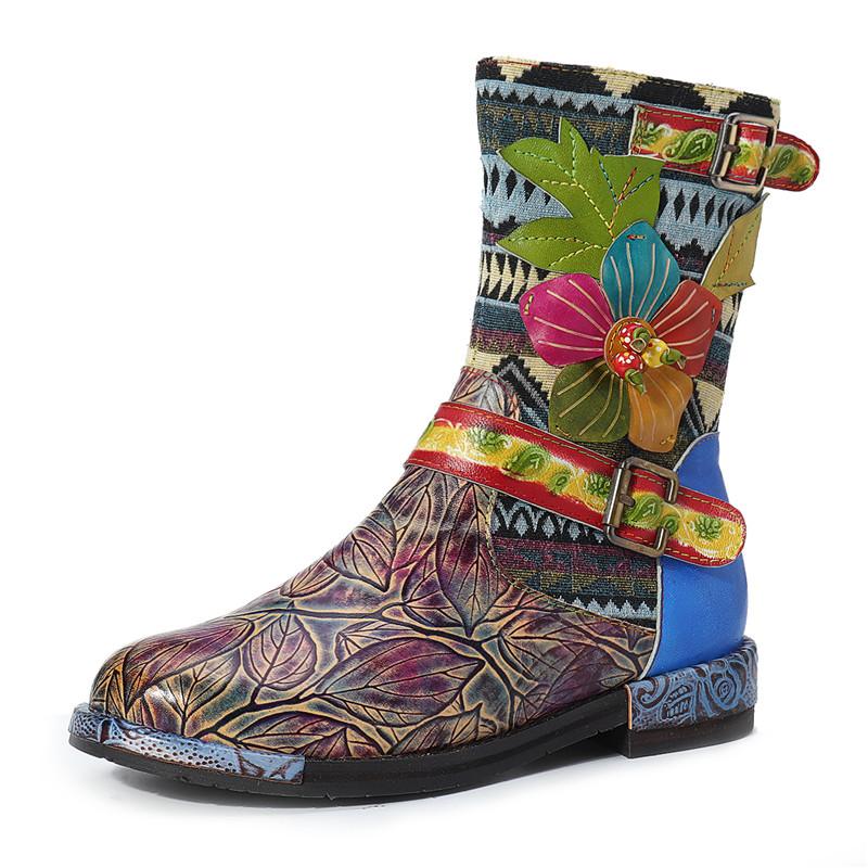 SOCOFY Women Cow Leather Ankle Boots Flowers Pattern Buckle Zip Low Heel Shoes