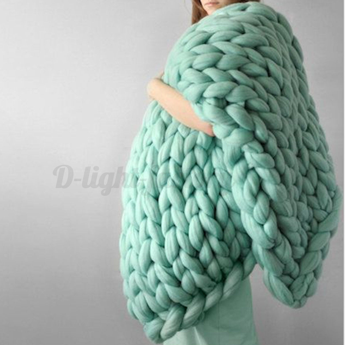 Large Soft Warm Hand Chunky Knit Blanket Thick Yarn Wool Bulky ...