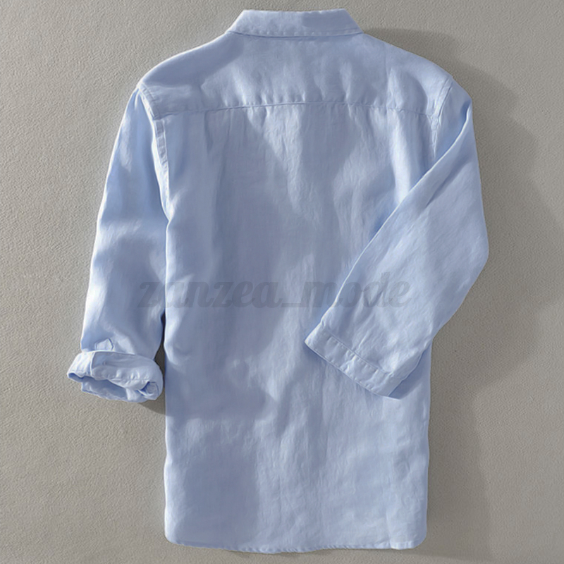 INCERUN Men/'s Linen Short Sleeve Solid Shirts Casual Loose Dress Tops Blouse Tee