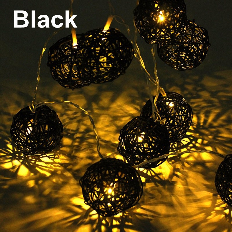 Plug or Battery Operated Aladin Rattan Wicker Balls LED String Fairy Lights Lamp eBay