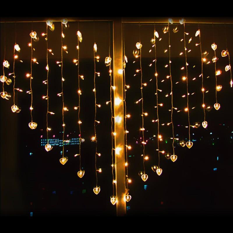 2Mx1.5M LED Hanging Fairy Falling Lights String Heart Curtain Bulbs Xmas Outdoor