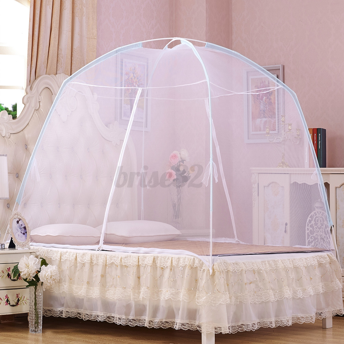 3 color portable hight qc bedding canopy mosquito net tent queen size for bed ebay. Black Bedroom Furniture Sets. Home Design Ideas