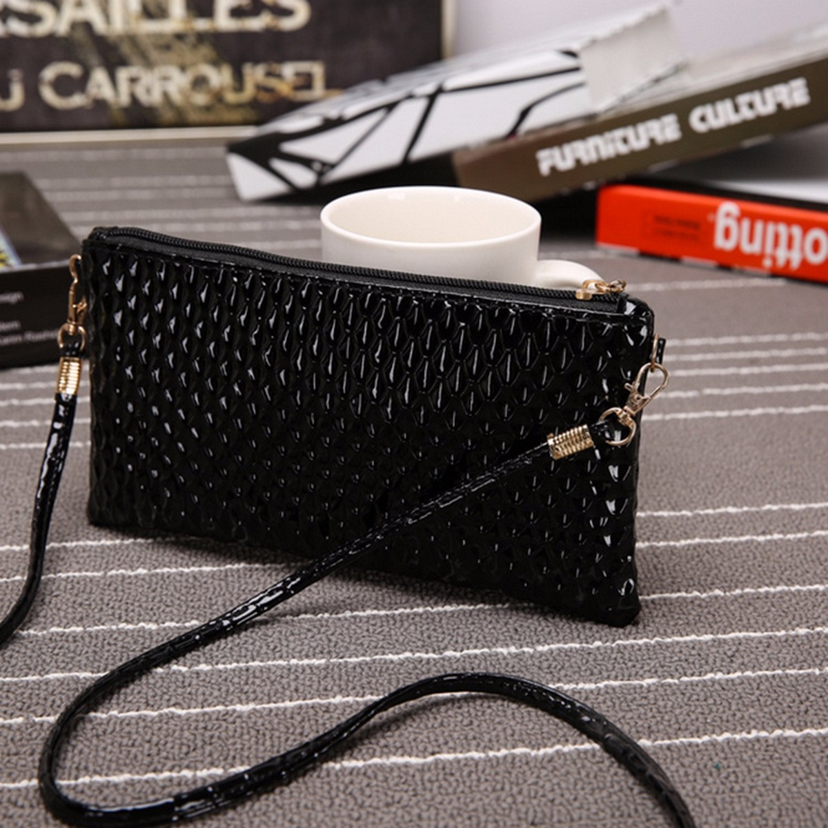 Fish scale women leather clutch messenger crossbody for Fish scale boots