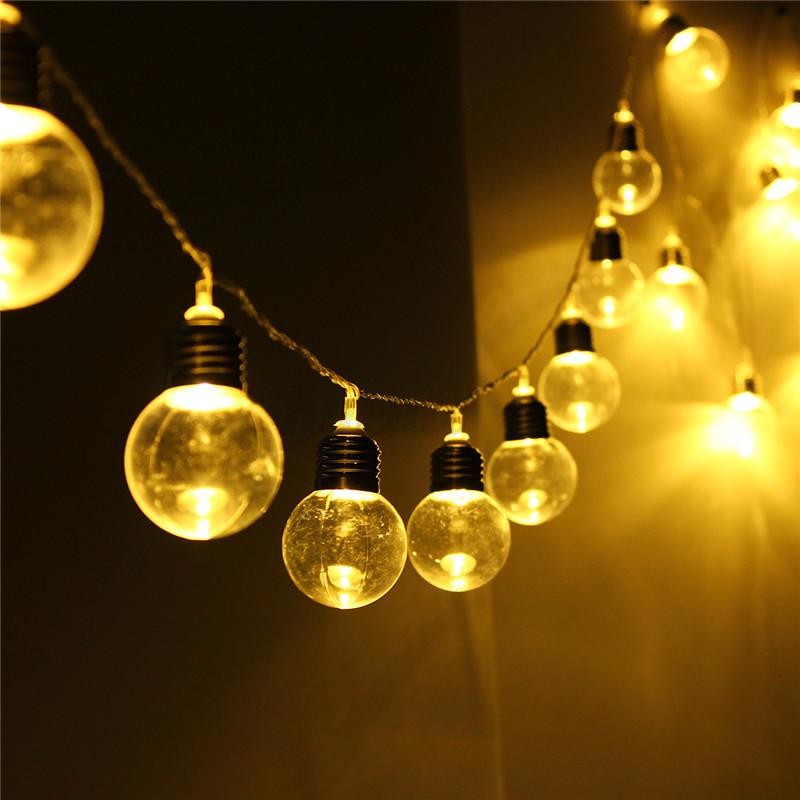 10m 20 led globe lichterkette kugeln innen deko gl hbirne au e partylichterkette. Black Bedroom Furniture Sets. Home Design Ideas