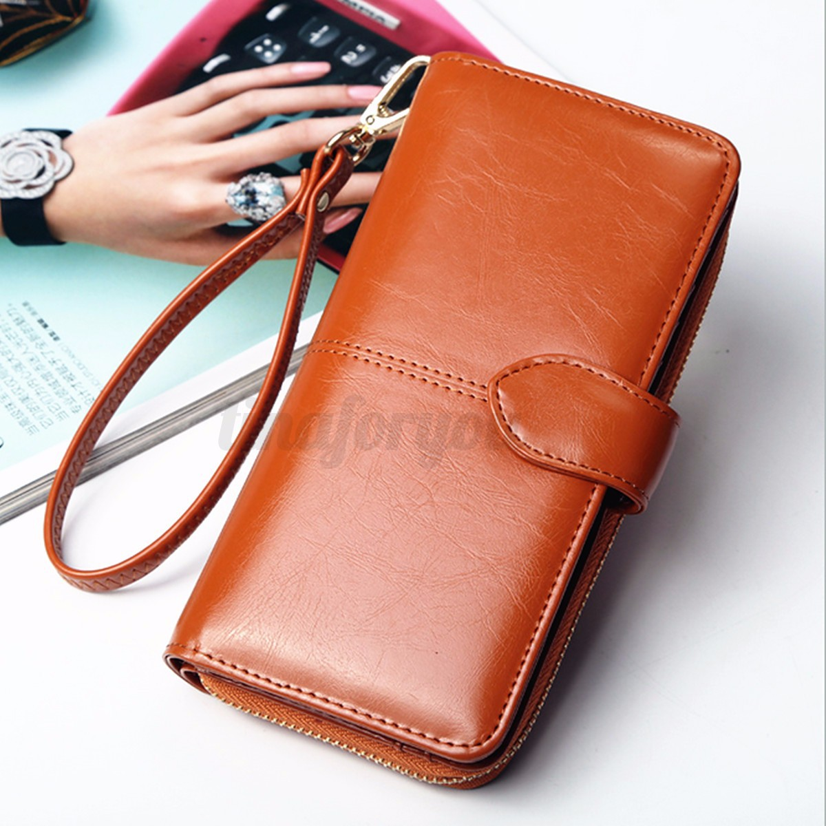Fashion Lady Women Leather Wallet Long Zip Purse Card Holder Case Clutch Handbag