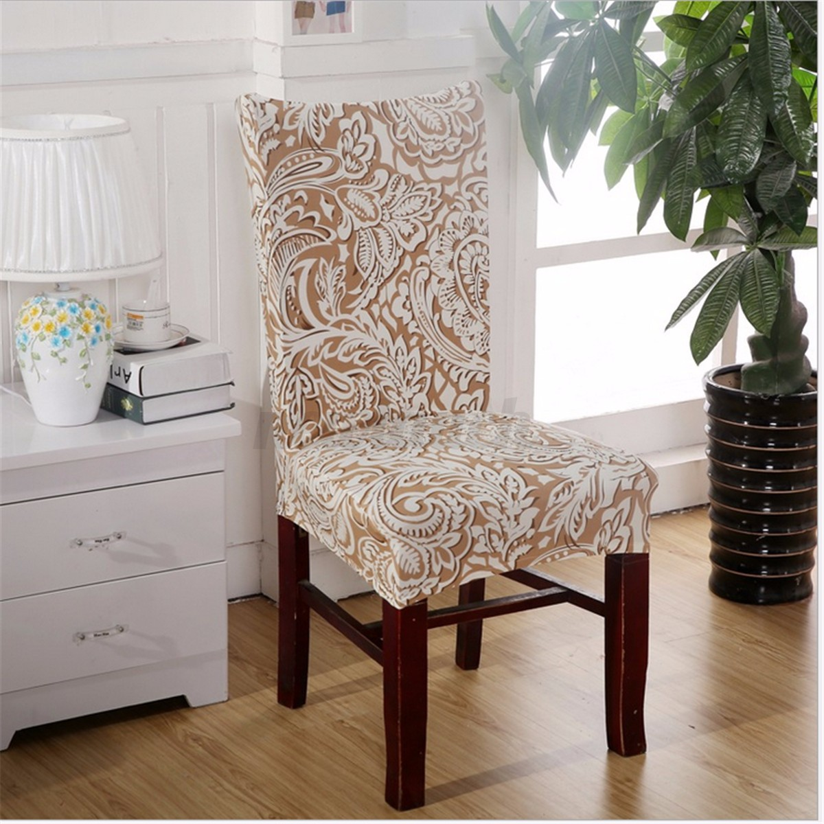 elastic stretch slipcovers short dining room chair seat cover decor