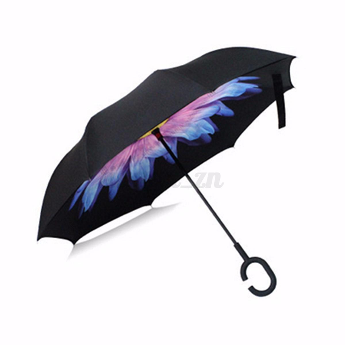 parapluie pliant automatique fleur imprim invers double soleil uv vent parasol ebay. Black Bedroom Furniture Sets. Home Design Ideas