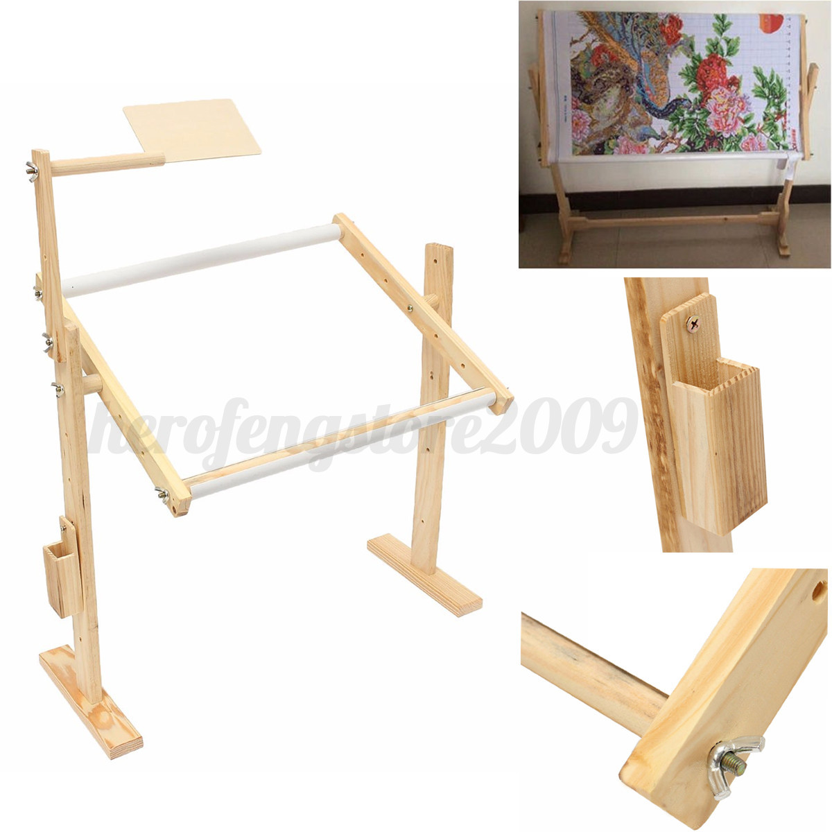 Marvelous photograph of Details about Wooden Floor Stand Holder Embroidery Frames Cross Stitch  with #9C6E2F color and 1200x1200 pixels