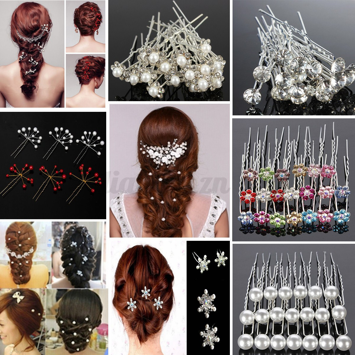 pingle cheveux cristal clip pince pic barrette strass mariage chignon 6 style ebay. Black Bedroom Furniture Sets. Home Design Ideas