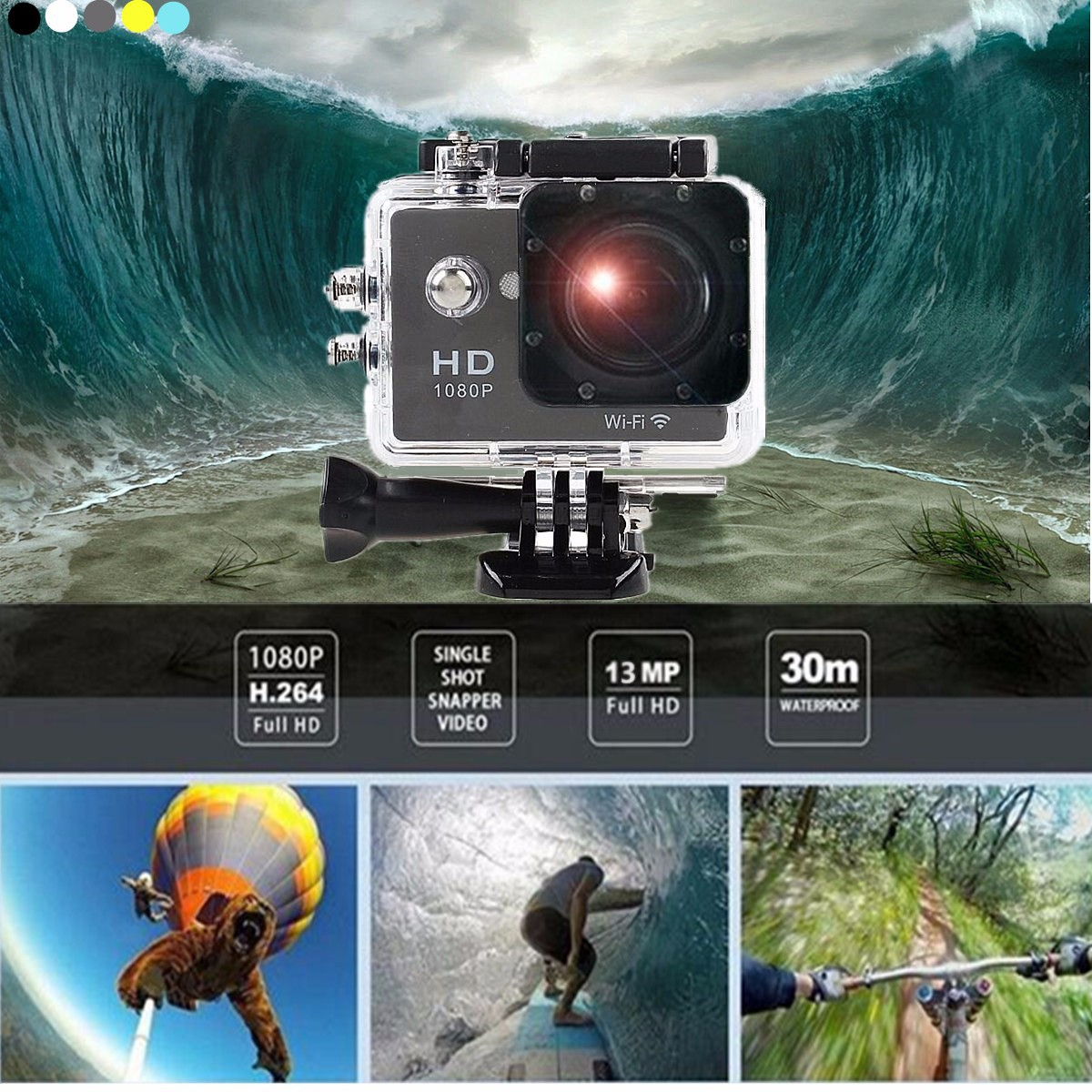 SJ6000 2.0'' LCD WIFI 1080P Helme Sports Action DVR Car 30M Waterproof Camera DV