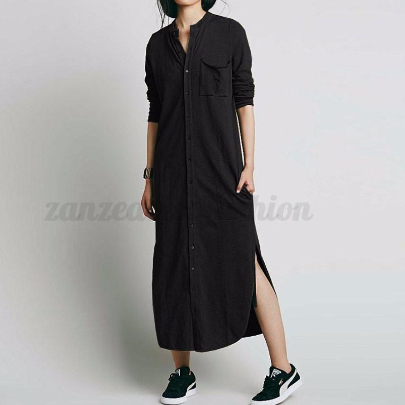 S-5XL Zanzea Women's Long Sleeve Button Down Shirt Dress Irregular Split Kaftan