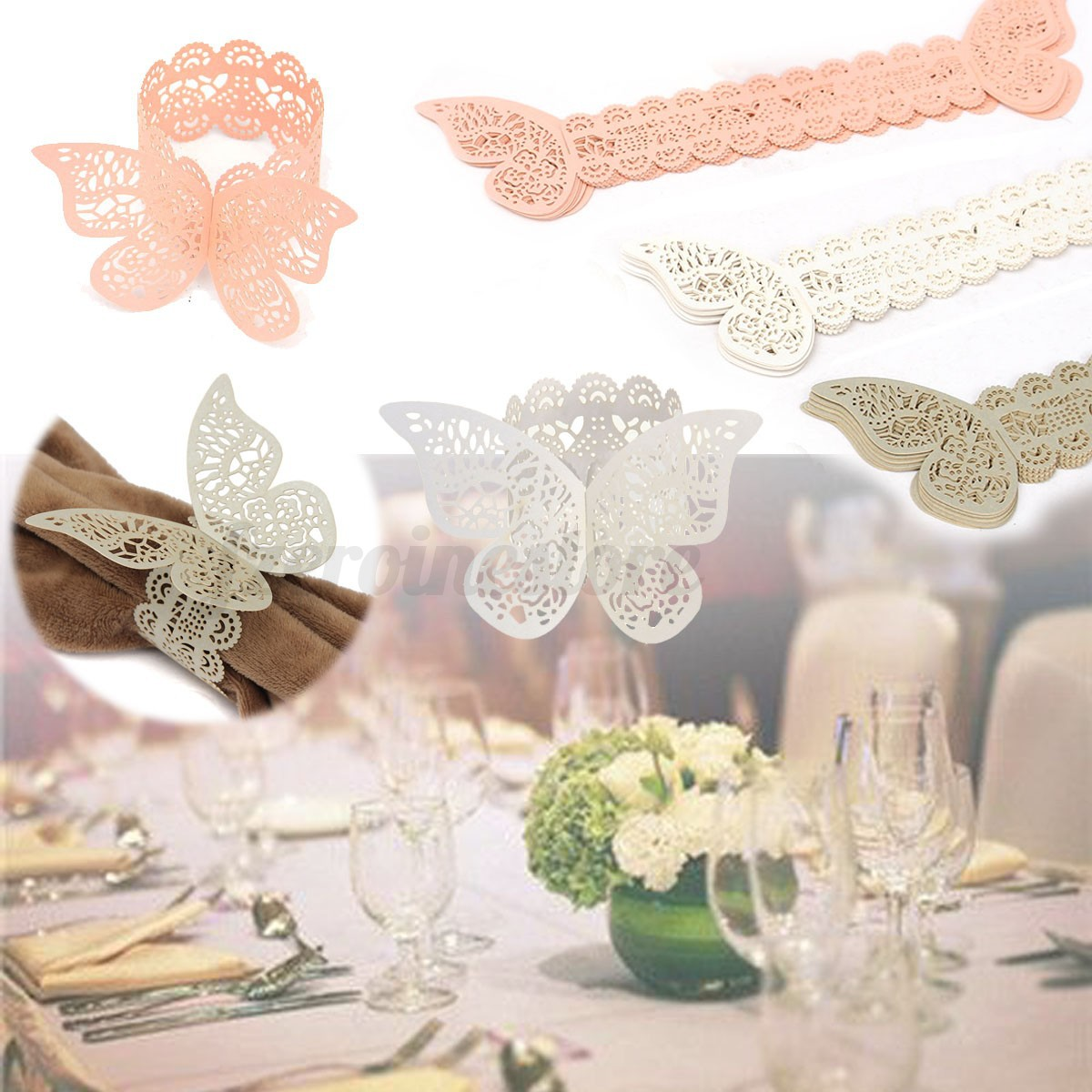12x serviettenringe set serviettenhalter papier schmetterling hochzeit tischdeko ebay. Black Bedroom Furniture Sets. Home Design Ideas