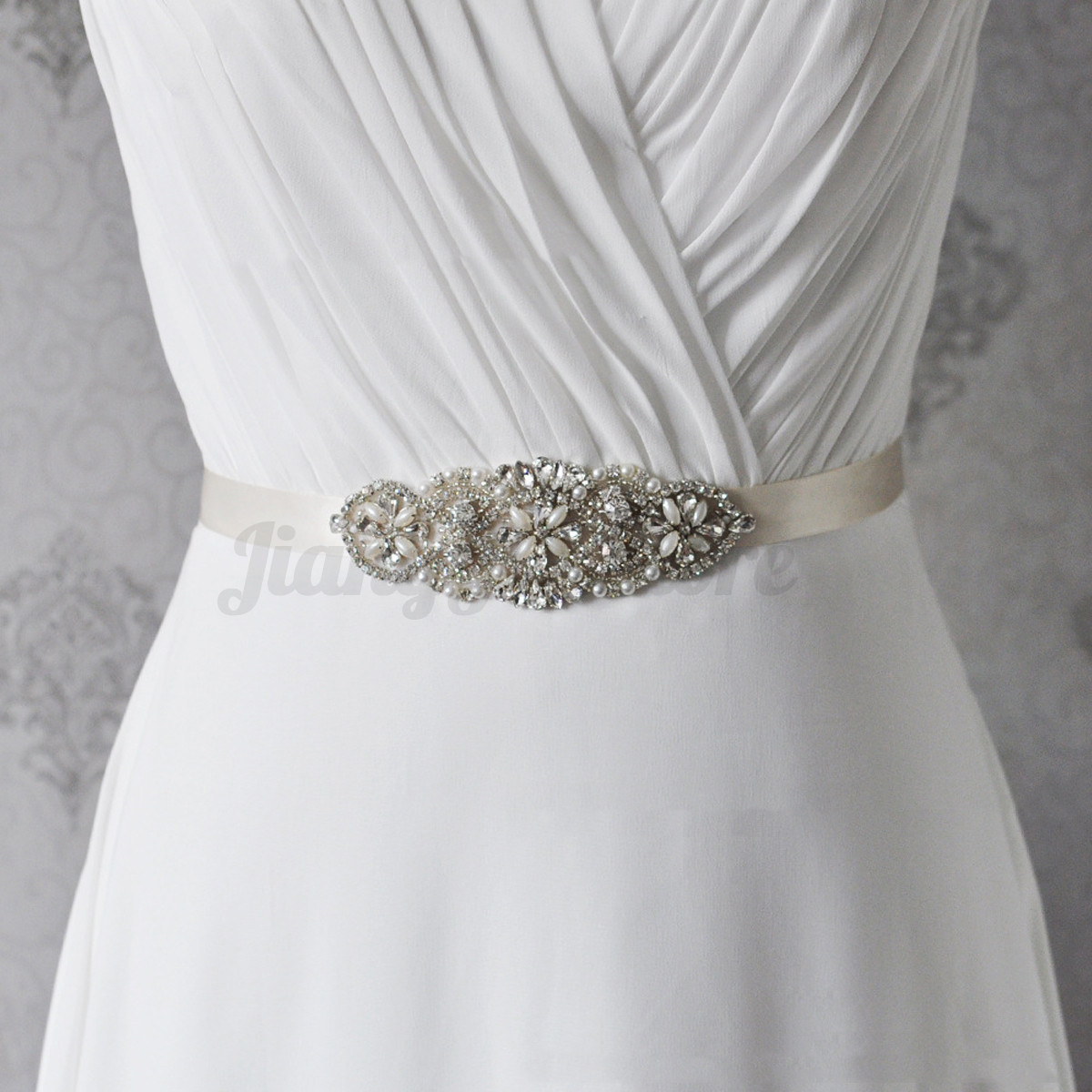 Crystal rhinestone bead wedding bridal dress sash belt for Wedding dress sash with rhinestones