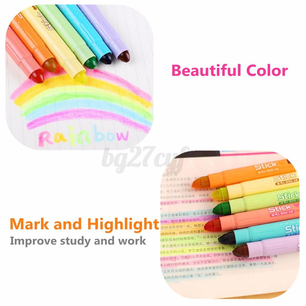 6 Colors Set Cute Paint Writer Pens Marker Highlighter