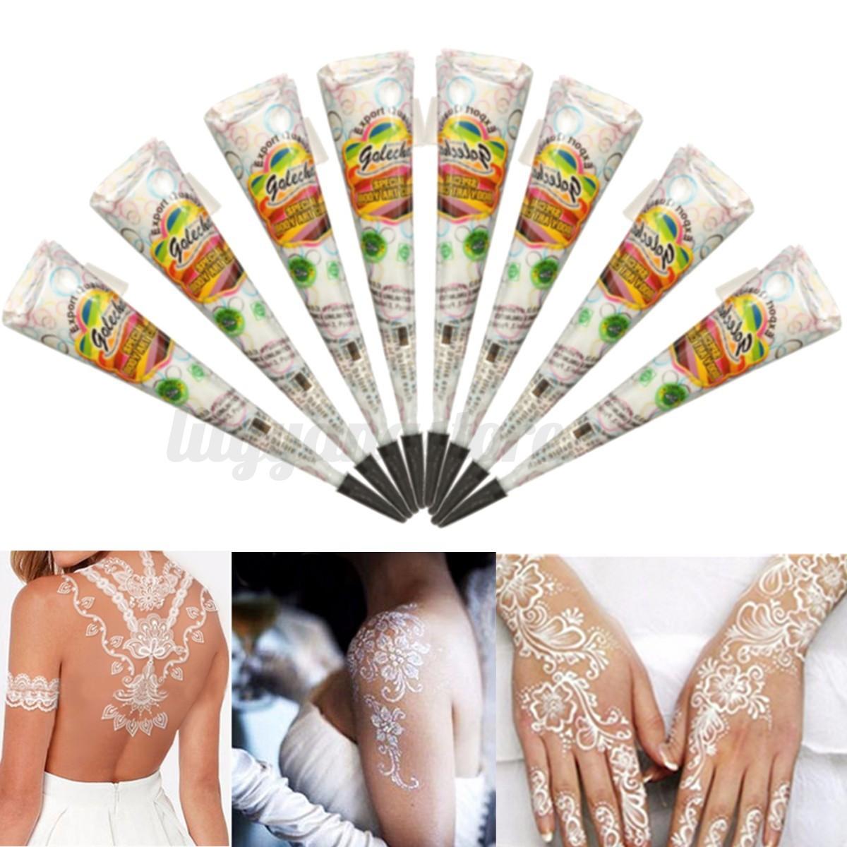 White Ink Henna: White Natural Herbal Henna Cones Temporary Tattoo Kit Body