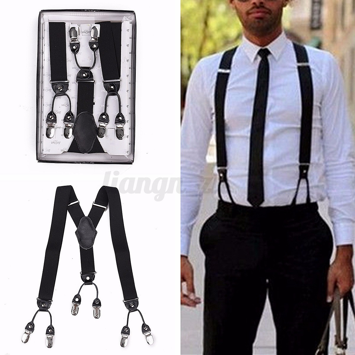 bretelle noir pantalon r glable y forme elastique 6 clips boucle suspender homme ebay. Black Bedroom Furniture Sets. Home Design Ideas