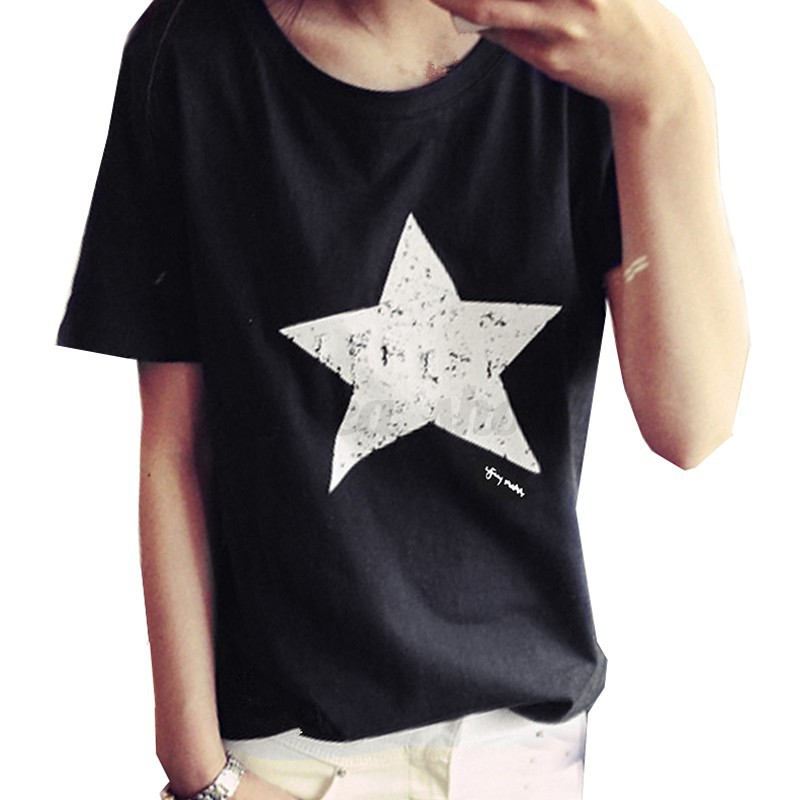 Womens Summer Loose Short Sleeve Shirt Casual Star Printed Blouse Tops Plain Tee
