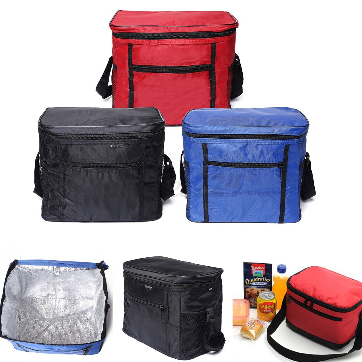 outdoor coolers lunch box insulated picnic bento bags tote camping outing bag ebay. Black Bedroom Furniture Sets. Home Design Ideas
